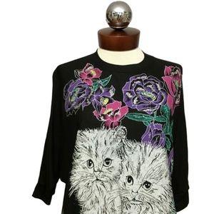 Vintage 80's glitter cat kitten T-Shirt kawaii